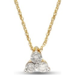 9K Yellow Gold SGL Certified Diamond (Rnd) (I3/G-H) Trilogy Pendant with Chain (Size 18) found on Bargain Bro UK from The Jewellery Channel