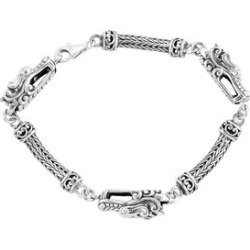 Royal Bali Collection Sterling Silver Tulang Naga Bracelet (Size 7.25) with Three Dragon Head, Silver wt 21.00 Gms