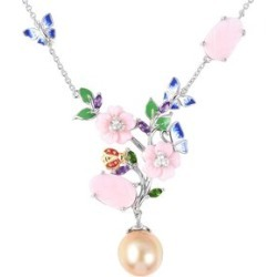 Jardin Collection - Golden South Sea Pearl and Multi Gemstone Enameled Necklace (Size 18) in Two Tone Sterling Silver, Silver wt 9.23 Gms.