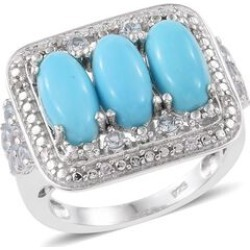 Arizona Sleeping Beauty Turquoise (Ovl), Sky Blue Topaz and Natural Cambodian Zircon Ring in Platinum Overlay Sterling Silver 4.250 Ct. Silver wt 5.74 Gms. found on Bargain Bro UK from The Jewellery Channel