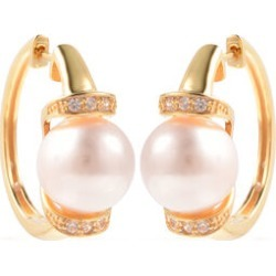 Edison Pearl and Natural Cambodian Zircon Earrings in Yellow Gold Overlay Sterling Silver, Silver wt 6.22 Gms found on Bargain Bro UK from The Jewellery Channel