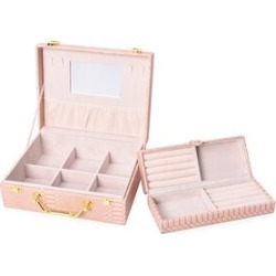 2 Piece Set - 2 Tier Removable Dragon Skin Pattern Jewellery Box with Inside Mirror and Handle - Blush Pink