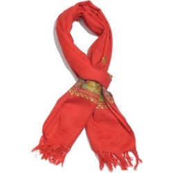 One Time Deal-100% Merino Wool Red Shawl with Cashmere Embroidery (Size 180X70 Cm) found on Bargain Bro UK from The Jewellery Channel
