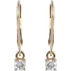 9K Yellow Gold SGL Certified Diamond (Rnd) (G-H/I3) Lever Back Earrings 0.33 Ct.