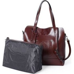 2 Piece Set - 100% Genuine Leather Dark Brown Colour Tote Bag (Size 31x30x12 Cm) and Pouch (Size 29x22x11 Cm)