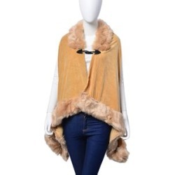 Designer Inspired Khaki Buttoned Poncho with Faux Fur Collar (One Size Fits All) found on Bargain Bro UK from The Jewellery Channel