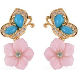 Jardin Collection - AAA Arizona Sleeping Beauty Turquoise Paraiba Apatite, Natural White Cambodian Zircon and Mother of Pearl Butterfly Earrings in Yellow Gold Overlay Sterling Silver 6.0 Ct