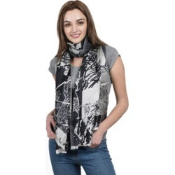 SILK MARK- 100% Superfine Silk Silver Black and Silver Colour Jacquard Jamawar Scarf with Fringes (Size 180x70 Cm) found on Bargain Bro UK from The Jewellery Channel