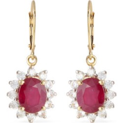 9K Yellow Gold AAA African Ruby (Ovl), Natural White Cambodian Zircon Lever Back Earrings 10.40 Ct. found on Bargain Bro UK from The Jewellery Channel