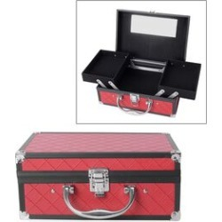 Briefcase Design Double Layer Jewellery Box with Inside Mirror and Two Extendable Trays (Size 24.5X16.5X10.5 Cm) - Rose Red Colour