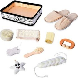 10 Piece Set - Bath Accessory Kit in Square Tray (Included Slipper, Hair Brush, 2 Sponge, Star Shaped Sponge, 2 Back Scrubber, Pumice Stone and Massager Roller) - Cream and White found on Makeup Collection from The Jewellery Channel for GBP 7.54