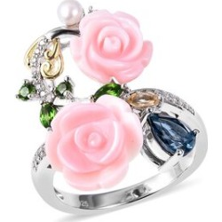 Jardin Collection - Pink Mother of Pearl, Freshwater Pearl, Russian Diopside, London Blue Topaz, Citrine and Natural White Cambodian Zircon Ring in Rhodium and Gold Overlay Sterling Silver