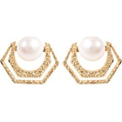 Edison Pearl Stud Earrings in Yellow Gold Overlay Sterling Silver found on Bargain Bro UK from The Jewellery Channel