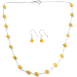 2 piece Set - Yellow Jade Station Necklace (Size 18) and Hook Earrings in Sterling Silver 27.75 Ct. found on Bargain Bro UK from The Jewellery Channel