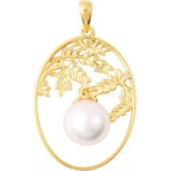 Edison Pearl and Diamond Leafy Vine Design Pendant in Yellow Gold Overlay Sterling Silver found on Bargain Bro UK from The Jewellery Channel