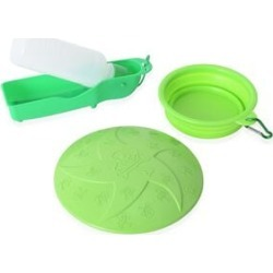 Pet Accessories Set of 3- Blue Colour Dog Frisbee, Squeeze Water Bottle and Foldable Silicon Bowl with Hook