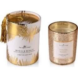 Scented Crackle Glass Candle in CBD Box with Tassel (H- 9.5 Cm, Dia-8 Cm) - Golden (Winter Magic Fragrance)