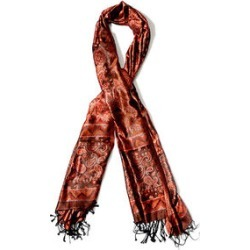 100% Superfine Silk Red and Black Colour Paisley Pattern Jacquard Jamawar Scarf with Fringes (Size 180x70 Cm) (Weight 125 - 140 Grams) found on Bargain Bro UK from The Jewellery Channel