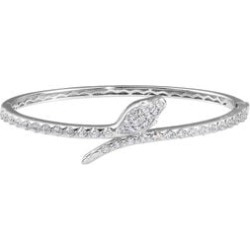 J Francis Platinum Overlay Sterling Silver Snake Bypass Bangle (Size 7.5) Made with SWAROVSKI ZIRCONIA 3.24 Ct, Silver wt 19.50 Gms found on Bargain Bro UK from The Jewellery Channel