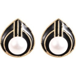 Edison Pearl Enamelled Stud Earrings in Yellow Gold Overlay Sterling Silver found on Bargain Bro UK from The Jewellery Channel