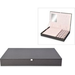 Leatherette Black Rectangular Jewellery Box with 13 Ring Rows, 24 Sections and Mirror Inside (Size 35x24x4.3 Cm)