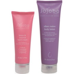 Jojoba: Lemon & Coconut Hand Cream - 80ml & Silken Melon Body Lotion - 125ml found on Makeup Collection from The Jewellery Channel for GBP 27.66