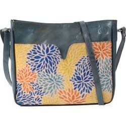 Super Auction - 100% Genuine Leather Hand Painted Multicolour Leaf Crossbody Bag (29x7x24 Cm) - Dark Green Colour