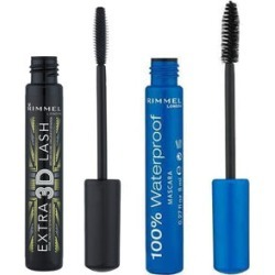 Rimmel: Set of 2 - 100% Waterproof Masacra - Black & Extra 3D Lash Mascara - Extreme Black - 8ml found on Makeup Collection from The Jewellery Channel for GBP 11.45