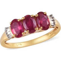 African Ruby (Ovl 6x4 mm), Diamond Ring in 14K Gold Overlay Sterling Silver 1.95Ct. found on Bargain Bro UK from The Jewellery Channel