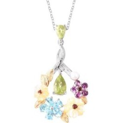 Jardin Collection - Yellow Mother of Pearl, Freshwater Pearl and Multi Gemstone Pendant With Chain (Size 18) in Rhodium and Yellow Gold Overlay Sterling Silver