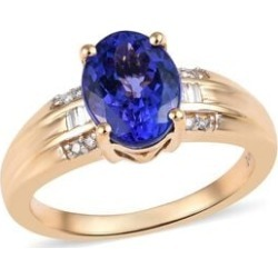Close Out Deal- 14K Yellow Gold AAA Tanzanite (Ovl), Diamond (I1-I2/G-H) Ring 2.15 Ct.