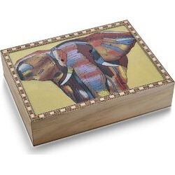 Wooden Jewellery Box with Hand-painted Gemstone Elephant (Size 20.3x15.2x5 Cm) with Red Velvet Lining - Multicolour