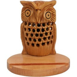 New Arrival- Hand Carved Wooden Mobile Phone Holder- Owl