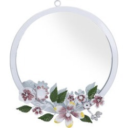 White Handcrafted Decorative Floral Wall Mirror found on Makeup Collection from The Jewellery Channel for GBP 13.99