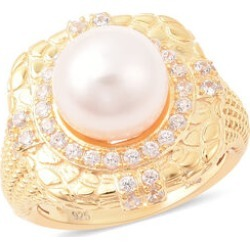 Edison Pearl and Natural Cambodian Zircon Ring in Yellow Gold Overlay Sterling Silver, Silver wt 6.57 Gms found on Bargain Bro UK from The Jewellery Channel
