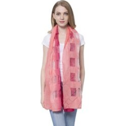 20% Wool Dark and Light Pink Colour Transparent Checks Pattern Scarf (Size 180x60 Cm) found on Bargain Bro UK from The Jewellery Channel