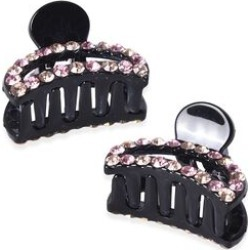 Set of 2 - Crystal Studded Small Hair Claw Clip - Champagne and Light Pink found on Makeup Collection from The Jewellery Channel for GBP 5.75