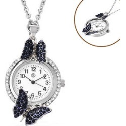 STRADA Japanese Movement White and Blue Austrian Crystal Studded Water Resistant Butterfly Pocket Watch with Chain (Size 29) in Silver Tone found on Bargain Bro UK from The Jewellery Channel