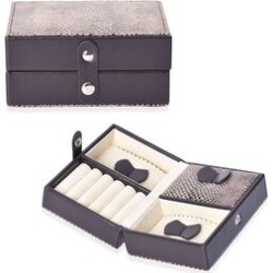 Small Snake Skin Pattern Travel Jewellery Organiser with Button Closure, 5 Ring Rows and 3 Sections with 2 Removable Dust Proof Covers (Size 12.2x8.7x6 Cm) - Dark Brown