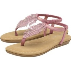 Dunlop Rue Embellished Feather Toe Post Flat Sandals in Rose found on Bargain Bro UK from The Jewellery Channel