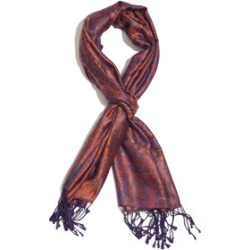 SILK MARK - 100% Superfine Silk Orange, Purple and Multi Colour Jacquard Scarf with Fringes (Size 180x70 Cm) (Weight 125 - 140 Grams) found on Bargain Bro UK from The Jewellery Channel