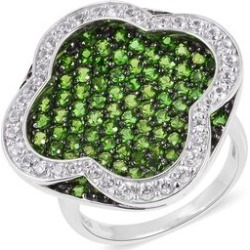 Designer Inspired- Russian Diopside (Rnd), Natural White Cambodian Zircon Ring in Black and Rhodium Overlay Sterling Silver 5.300 Ct, Silver wt 9.56 Gms, Number of Gemstone 133. found on Bargain Bro UK from The Jewellery Channel