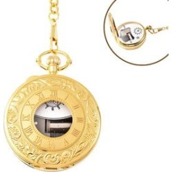 STRADA Japanese Movement Roman Number Pattern Water Resistant Music Pocket Watch with Chain (Size 14) in Yellow Gold Tone found on Bargain Bro UK from The Jewellery Channel