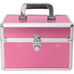 4-Tier Stripe Pattern Jewellery Organiser with 6 Extendable Trays, Lock Clasp and Handle (20x18x8 Cm) - Pink