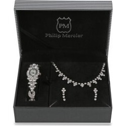Philip Mercier - Gift Set of Necklace with Earrings and Watch in Silver Tone