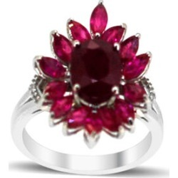 African Ruby (Ovl 2.75 Ct), Burmese Ruby and White Sapphire Ring in Rhodium Plated Sterling Silver 5.515 Ct. found on Bargain Bro UK from The Jewellery Channel