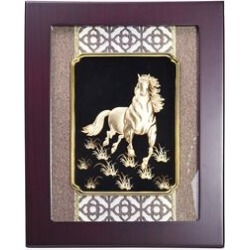 Home Decor - 24K Gold Plated Horse Wooden Frame (Size 27x34 Cm) found on Bargain Bro UK from The Jewellery Channel