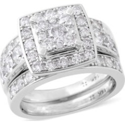 NY Close Out Deal- 3 Piece Set - 14K White Gold Diamond (Rnd) (I1-I2/G-H) Ring 2.00 Ct, Gold wt 9.10 Gms