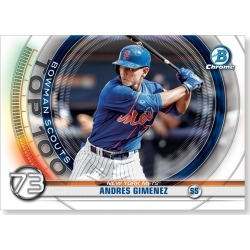 Andres Gimenez 2020 Bowman Baseball Bowman Scouts Top 100 Poster # to 99 found on Bargain Bro Philippines from Topps for $24.99