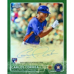 CARLOS CORREA AUTOGRAPHED '2015 TOPPS CHROME ROOKIE' 8X10 JUMBO CARD - GREEN # to 50 found on Bargain Bro India from Topps for $299.99